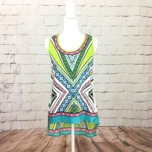 Lucky & Coco Abstract Hi-Low Hem Tank Top